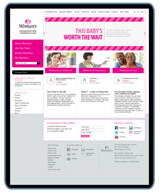 screen shot for womans hospital website